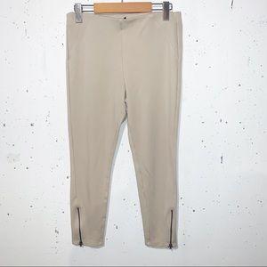 Hue Cream Legging Zipper Detail Ankles Crop
